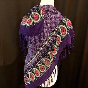 Purple Paisley Print Scarf / Wrap